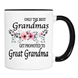 Only The Best Grandmas Get Promoted To Great Grandma - Flowers - Mug - Great Grandma To Be Gift - Great Grandma To Be Mug