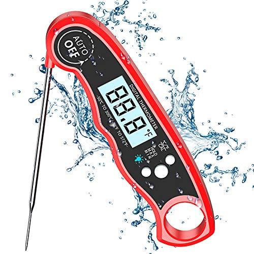Cocoda Termometro Digital de Cocina, Termómetro Carne de Lectura Instantánea de 2S con 4.7   Sonda Larga, Pantalla LCD Retroiluminada, IPX6 Impermeable, Termometro Horno para BBQ, Comida