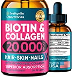 Liquid Biotin & Collagen for Hair Growth 20000mcg - Support Hair Health, Strong Nails and Glowing Skin - 20000mcg of Collagen and Biotin Combined