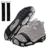 Ice Snow Spikes Grips Anti-Slip 24Teeth Ice Snow Traction Cleats Crampons Slip on Boots Footwear Winter Outdoor for Hiking Fishing Climbing (Black, Medium)
