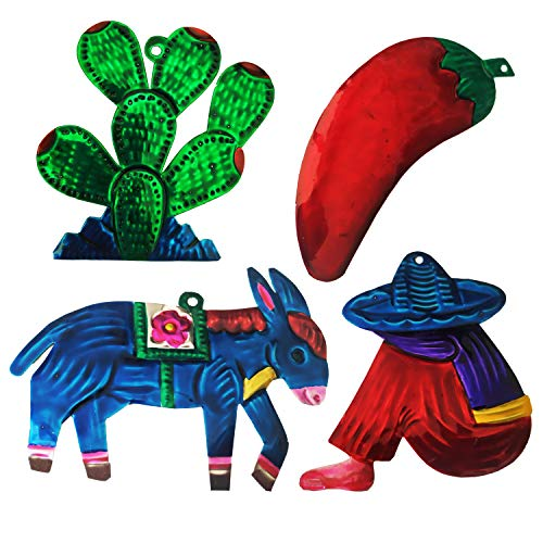 Yani's Gifts Mexican Tin Ornaments, Mexican Art (Set of 4), Mexican Christmas Ornaments, Hand Painted Red Hot Chili Pepper, Donkey, Sleeping Mariachi, Cactus Christmas Decorations, Southwestern Decor