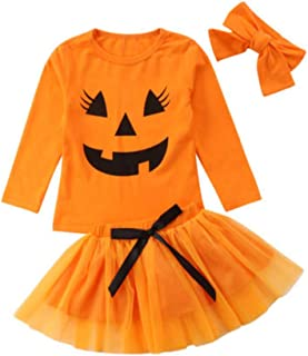 Dcohmch Infant Baby Girl Halloween Clothes Set Pumpkin Shirt Top + Skirt with Headband Outfits Toddler Kids Clothing