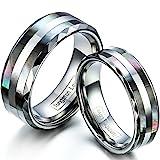 JewelryWe Schmuck 1 Paar Wolfram Wolframcarbid Abalone Muscheln Inlay Partnerringe Freundschaftsringe Eheringe Trauringe Verlobungsringe Band, Silber