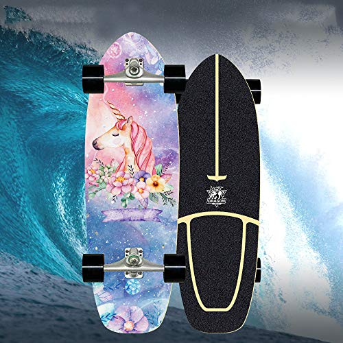 VOMI Cruiser Skateboard Waveboard Kinder Complet Skateboard Carver Surfskate, ABEC -11 Kugellager, CX4 Truck 6 Zoll, Drop-Through Freeride Skaten Cruiser Boards, Von Anfänger Bis Profi 78×24Cm,D
