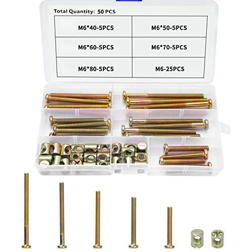 Möbelschrauben M6, JatilEr Dübelmuttern Kohlenstoffstahl Zylindermuttern Schrauben Verzinkte Möbel-Bettschrauben Bolt Kopf mit Barrel Nut Verbindungselement, für Möbelkrippen Krippen und Stühle