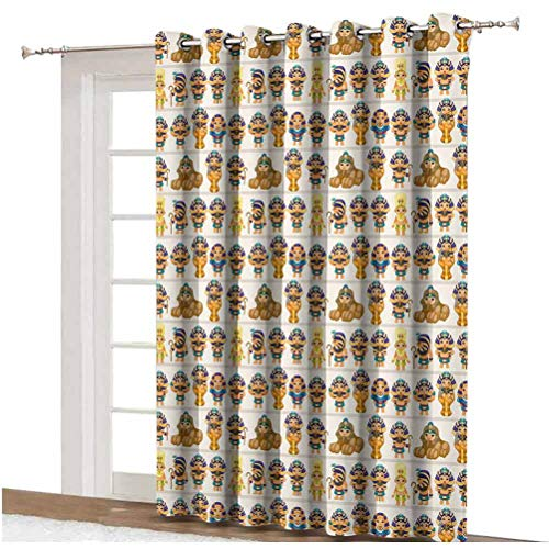 Egyptian Sliding Door Curtain Cute Kids Design with Egyptian Cartoon Ancient Figures King Queen Myth Pattern Decorative Grommets Panels Printed Curtains ,Single Panel 80x84 inch,for Patio Door Multico