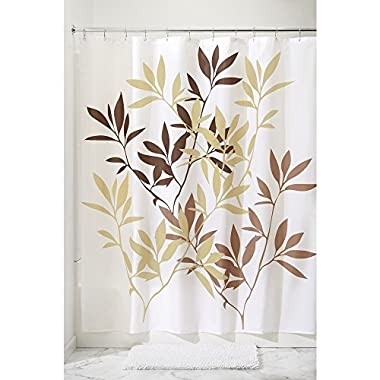 InterDesign 35640 Leaves Fabric Shower Curtain - Standard, 72  x 72 , Brown