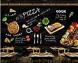 Fotomurales Decorativos Pared Vinilos Decorativos Papel Fotografico 3D Papel Tapiz Mural Negro Pintado A Mano Italiano Tienda De Pizza Restaurante Occidental Fondo De Pantalla Decoración Para El Hoga