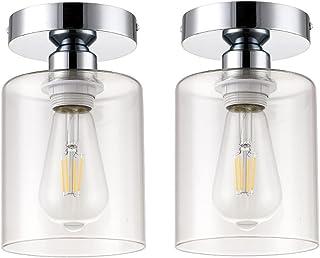 2 Pack Semi Flush Mount Ceiling Light, Industrial Ceiling...