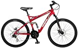 Mongoose Stasis Comp 26-Inch Full Suspension Mountain Bicycle, Matte Red, 18-Inch Frame/ Medium