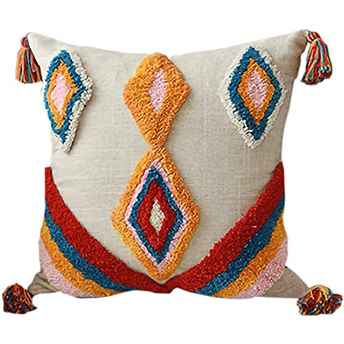 Beyda Funda de cojín con borlas estilo bohemio étnico hecho a mano estilo marroquí de lujo 45 x 45 cm A