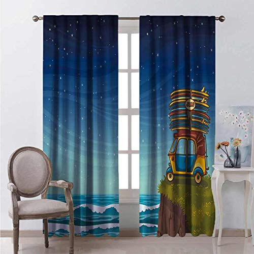 Toopeek Shading insulated curtain Cartoon Car Surfboards Soundproof shade W108 x L108 Inch