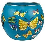 Himmlische Düfte Geschenkartikel GmbH Butterfly/Schmetterling Windlicht, Glas, bunt, 11x11x9 cm