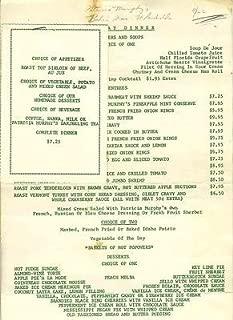 1950 menu