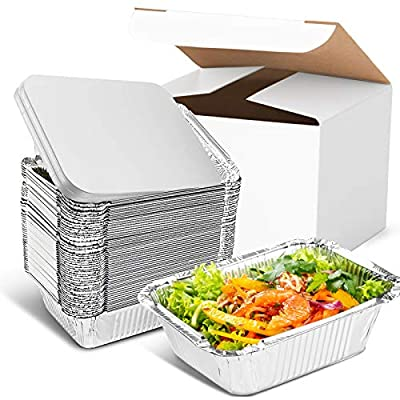 Inmorven Aluminum Pan Disposable 40-Pack, 8.5? x 6.3? Tin Foil Pans with Lid Recyclable, Baking Table Deep Pans Tin Food Storage for Cooking, Baking, Meal Prep, Takeout, Freeze