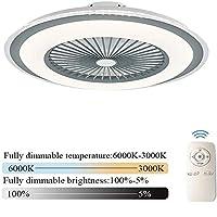 WEM 照明ファン付き天井扇風機天井扇風機、リモコンで調光可能な風速調節可能、リビングルームの子供部屋用天井ランプ[エネルギークラスA],グレー