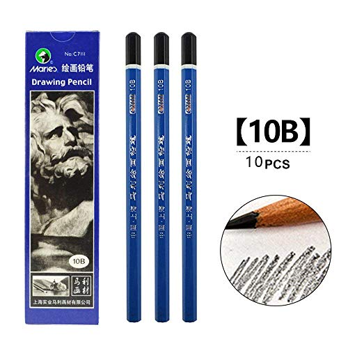 Carbon Painting Pencil Charcoal Drawing Sketch Pencils 10 Piece (10B)