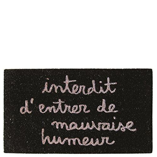 Laroom Paillasson Design Interdit D'Entrer de Mauvaise Humeur, Jute & Base antidérapante, Noir, 40 x 70 x 1,8 cm