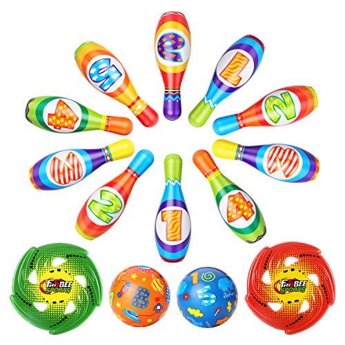 Geyiie Kinder Bowling Set Kegelspiel Bowlingkugel Drinnen Draußen Spielzeug Boule-Spiele Geschenke Kegel ab 3 4 5 Jahren