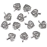 100pcs Antique Silver Plated Hollow Lovely Heart Charms Pendant DIY Bracelets Necklace Jewelry Making Craft Wholesale 16mmx14mm(A285)