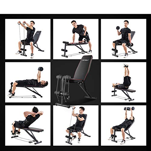 Adjustable Weight Bench, Exercise Workout Bench for Full Body Workout- Multi-Purpose Foldable Bench, Folding Dumbbells Bench with Elastic Ropes, 400lbs Capacity
