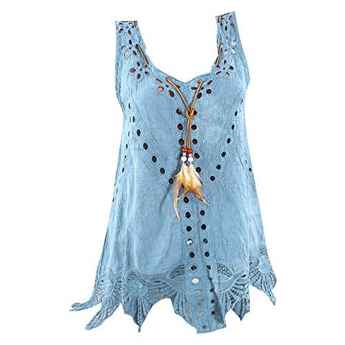 Blusa regata feminina de linho de algodão plus size gola em U bordada vazada sem mangas tops de verão, Azul, XG