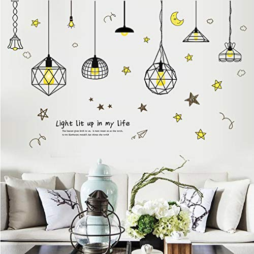 Five-Pointed Star Wire Moon Chandelier Wall Stickers Bedroom Living Room Kids Room Background Poster Wallpaper Home Decor 50 * 70Cm