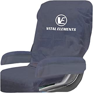 Airplane Seat Covers (with Armrest) 2 SETS : Disposable Also for Theater and Restaurants (Navy)