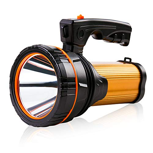 Super Bright Rechargeable Large 4 Batteries 10000mah LED Spotlight Flashlight Handheld Searchlight 35W High Lumens Powered CREE USB Spot Search lights Powerful Waterproof Portable Marine Boat Torch