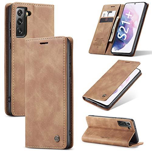 KONEE Hülle Kompatibel mit Samsung Galaxy S21 Plus 5G, Lederhülle PU Leder Flip Tasche Klappbar Handyhülle mit [Kartenfächer] [Ständer Funktion], Cover Schutzhülle für Samsung Galaxy S21+ 5G - Braun