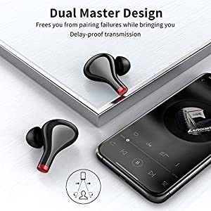 Wireless Earbuds with 10000 mAh Display Charging Case as Power Bank, Upgrated Bluetooth V5.0 True Wireless Headphones, TWS Stereo Earphones for Iphone and Android, 500 Hours Music Time/IP65 Waterproof