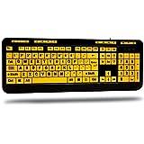Adesso AKB-132UY - Luminous 4 X Large Print Multimedia Desktop USB Keyboard, Black Yellow