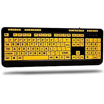 Adesso AKB-132UY - Luminous 4 X Large Print Multimedia Desktop USB Keyboard Black Yellow