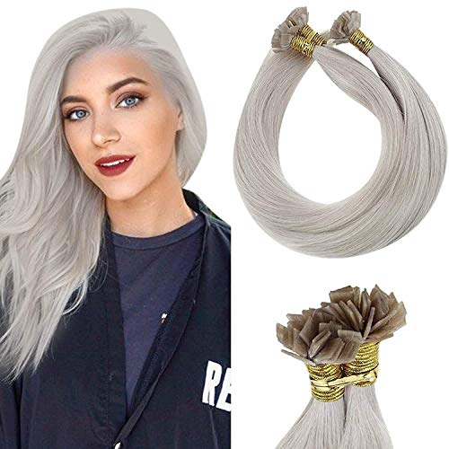 LaaVoo 20 Pollici Pre Bonded Fusion Extension Capelli Veri Cheratina Biondo Platino Flat Tip Extension Great Lengths Remy Naturales 50g/50s