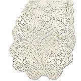 KEPSWET Kepwet Tischläufer, handgefertigt, Baumwolle, länglich, gehäkelt, Spitze, 35,6 x 91,4 cm Country Rustic 14'x72' beige