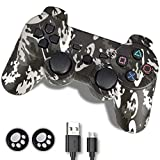 PS3 Controller, PS3 Controller Wireless,Playstation 3 Controller, Wireless PS3 Joystick Double Shock Gamepad Compatible for Playstation 3 with Charger and Thumb Grips