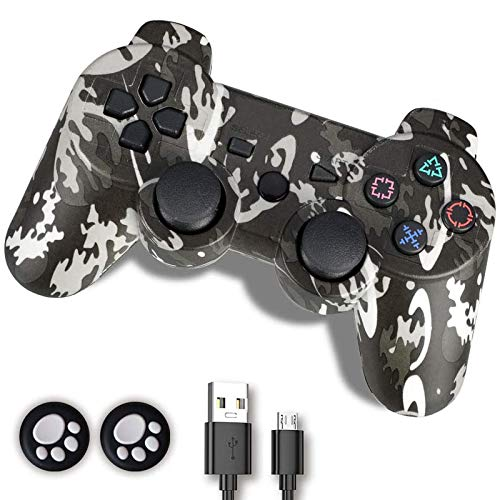 PS3 Controller, Controller PS3, Wireless Controller für PS3, Double Shock 6-Achsen Joystick kompatibel für Playstation 3, Ergonomisches Gamepad mit Mini-B Kordel und Daumengriffen (Camouflage Grey)