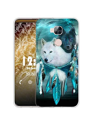 Sunrive Funda Compatible con Huawei GX8/G8, Silicona Slim Fit Gel Transparente Carcasa Case Bumper de Impactos y Anti-Arañazos Espalda Cover(Q Lobo 6)