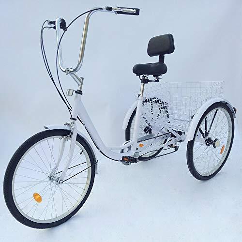 24 pulgadas Triciclo adultos manillar ajustable 3 ruedas 6 marchas respaldo grande blanco bicicleta con cesta para personas mayores compras, pícnic
