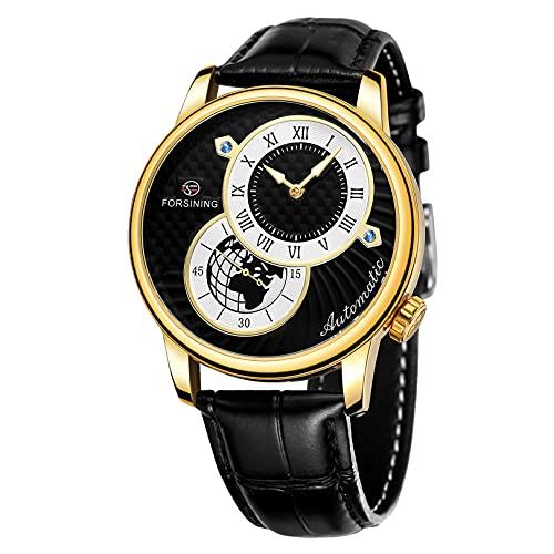 Relojes para hombre, relojes de pulsera para hombres reloj mecánico luminoso de acero inoxidable 3atm 30 metros reloj de pulsera con correa de cuero, negocio casual de negocios para hombre,A04