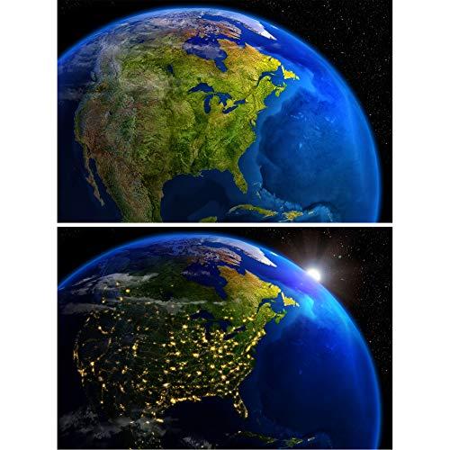 GREAT ART set de 2 posters XXL - América de día y de noche - vista del espacio exterior planeta tierra espacio continente universo pared imagen decoración foto póster(140 x 100 cm)