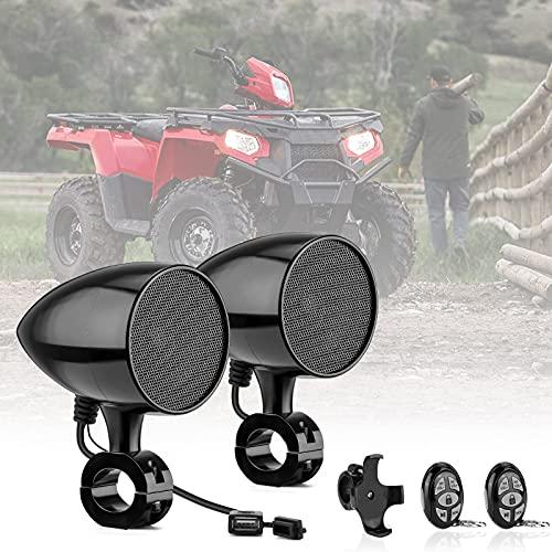 Motorcycle Bluetooth Speakers Waterproof, kemimoto Upgraded ATV Bluetooth Speakers w/Steteo Built-in...