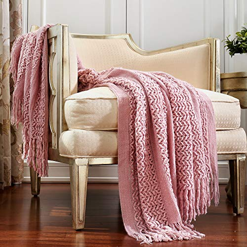 CREVENT Textured Solid Soft Sofa Couch Knitted Decorative Throw Blanket with Fringe for Girls, Soft Warm Cozy Light Weight for All Season Use (50''X60'' Dusty Pink/ Coral)