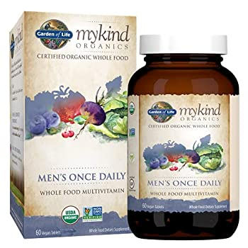 Garden of Life Multivitamin for Men - mykind Organic Men s Once Daily Whole Food Vitamin Supplement Tablets Vegan 60 Count