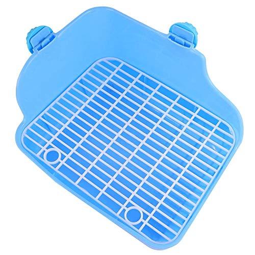 Bandeja de Arena para Gatos de Conejo, Orinal de plástico para Animales pequeños, Entrenamiento de Mascotas, Inodoro para Mascotas Anti-Chorro, 28 * 22 * 15 cm-Azul