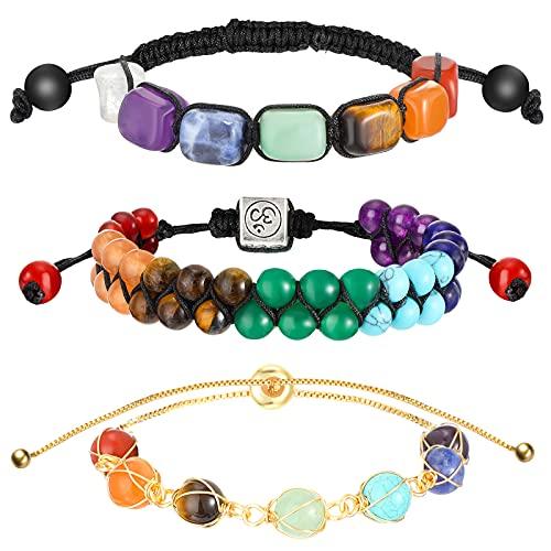 3 Pcs Healing Crystals Bracelet 7 Chakra Crystals Bracelets Yoga Stone Beads Bracelets Energy Natural Balancing Yoga Beads Bracelet for Women Men Girls (Classic Style)