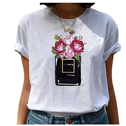N\P Amigos T Shirt Verano Mujeres Manga Corta Ocio Casual Señoras Camisetas Mujer Ropa - - Medium