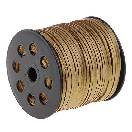 IPOTCH 100 Yardas Hilos Encerados 2.6mm Hilo de Cuero de Microfibra Cuerda de Costura Manualidades - Dorado