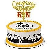 Aonbon Gold Glitter Congrats RN Cake Topper,...