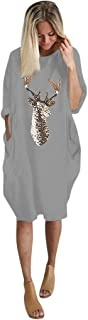 Auimank Womens Plus Size Loose Tops Dress Ladies O Neck Long Pocket Christmas Dress